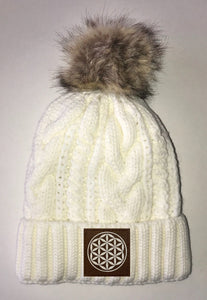 Flower of Life Beanies - Ivory Plush, Blanket Lined Cable Knit, Pom Pom Beanie Buddha Gear