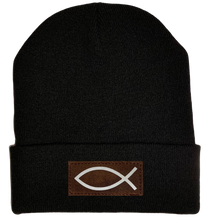 Load image into Gallery viewer, Beanie - Black, cuffed Beanie with  Christian Fish Ichthus buddha gear