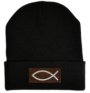 Beanie - Black, cuffed Beanie with  Christian Fish Ichthus buddha gear