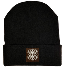 Load image into Gallery viewer, Beanie - Black, cuffed Beanie with flower of life vegan patch by buddha gear