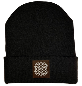 Beanie - Black, cuffed Beanie with flower of life vegan patch by buddha gear
