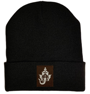 Beanie - Black, cuffed Beanie with ganesha elephant hindu vegan leather yoga hat by buddha gear