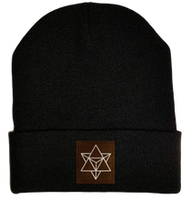 Load image into Gallery viewer, Beanie - Black, cuffed Beanie with sacred geometry merkaba buddha gear
