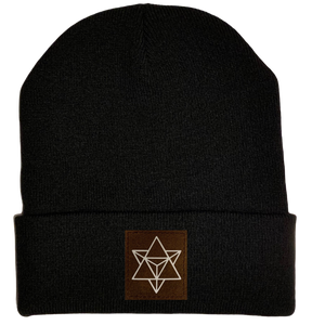 Beanie - Black, cuffed Beanie with sacred geometry merkaba buddha gear
