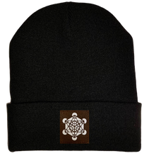 Load image into Gallery viewer, Beanie - Black, cuffed Beanie with Archangel Metatron's cube sacred geometry buddha gear