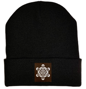 Beanie - Black, cuffed Beanie with Archangel Metatron's cube sacred geometry buddha gear