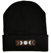 Load image into Gallery viewer, Beanie - Black, cuffed Beanie with moon buddha gear