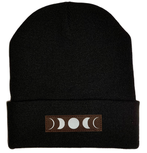 Beanie - Black, cuffed Beanie with moon buddha gear
