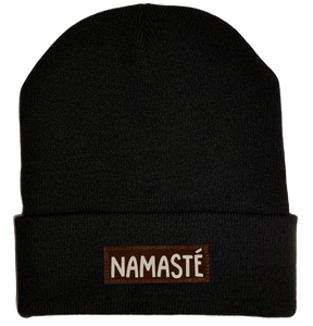 Beanie - Black, cuffed Beanie with namaste yoga hat by buddha gear