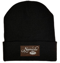 Load image into Gallery viewer, Beanie - Black, cuffed Beanie with namaste lotus vegan leather buddha gear