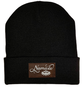 Beanie - Black, cuffed Beanie with namaste lotus vegan leather buddha gear