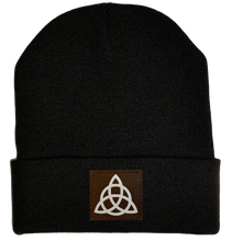 Load image into Gallery viewer, Beanie - Black, cuffed Beanie with triquetra Celtic knot vegan leather patch by buddha gear