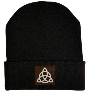 Beanie - Black, cuffed Beanie with triquetra Celtic knot vegan leather patch by buddha gear