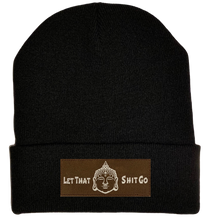 Load image into Gallery viewer, Beanie - Black, cuffed Beanie with let that shit go by buddha gear