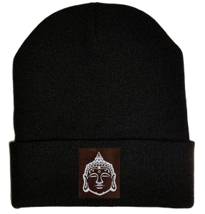 Beanie - Black, cuffed Beanie with buddha gear