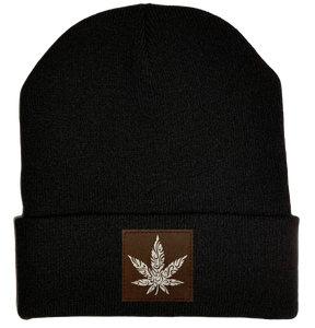 Beanie - Black, cuffed Beanie with cannabis vegan leather patch plant medicine by buddha gear