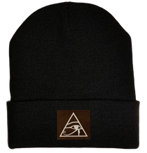 Load image into Gallery viewer, Beanie - Black, cuffed Beanie with eye of horus patch vegan leather by buddha gear