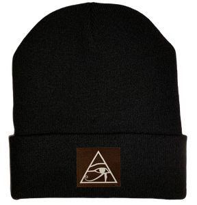 Beanie - Black, cuffed Beanie with eye of horus patch vegan leather by buddha gear