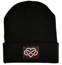 Load image into Gallery viewer, Beanie - Black, cuffed Beanie with vegan leather infinite love buddha gear