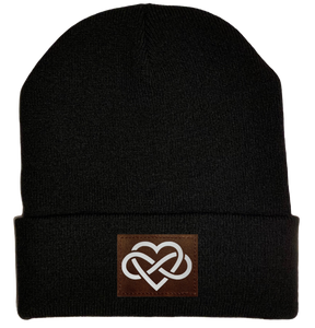 Beanie - Black, cuffed Beanie with vegan leather infinite love buddha gear