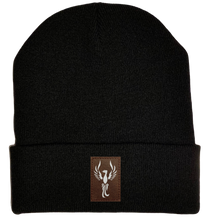 Load image into Gallery viewer, Beanie - Black, cuffed Beanie with  phoenix yoga symbol by buddha gear