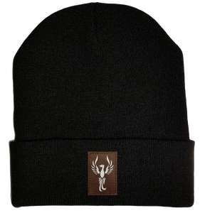 Beanie - Black, cuffed Beanie with  phoenix yoga symbol by buddha gear