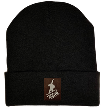 Load image into Gallery viewer, Beanie - Black, cuffed Beanie with snowboarder snowboarding buddha gear