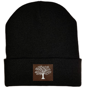 Beanie - Black, cuffed Beanie with tree of life kabala buddha gear