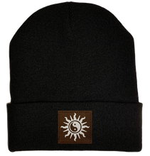 Load image into Gallery viewer, Beanie - Black, cuffed Beanie with yin yang sun kung fu hat by buddha gear