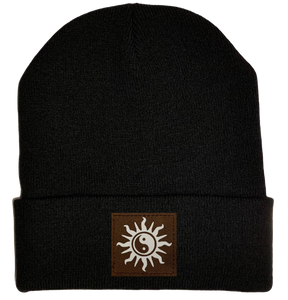 Beanie - Black, cuffed Beanie with yin yang sun kung fu hat by buddha gear