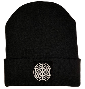Black Beanie with Flower of life vegan leather yoga patch over your third eye by buddha gear