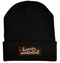 Load image into Gallery viewer, Beanie - Black, cuffed Beanie with vegan leather meditation patch yoga hat by buddha gear