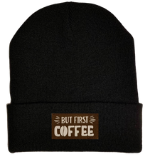 Load image into Gallery viewer, Beanie - Black, cuffed Beanie with coffee vegan leather patch by yoga buddha gear
