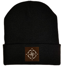 Load image into Gallery viewer, Beanie - Black, cuffed Beanie with camping compass vegan leather by buddha gear
