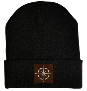 Beanie - Black, cuffed Beanie with camping compass vegan leather by buddha gear