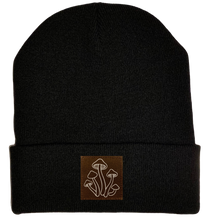 Load image into Gallery viewer, Beanie - Black, cuffed Beanie with mushrooms plant medicine vegan leather patch by buddha gear