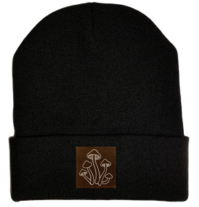 Beanie - Black, cuffed Beanie with mushrooms plant medicine vegan leather patch by buddha gear