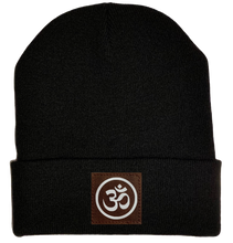 Load image into Gallery viewer, Beanie - Black, cuffed Beanie with  om symbol buddha gear