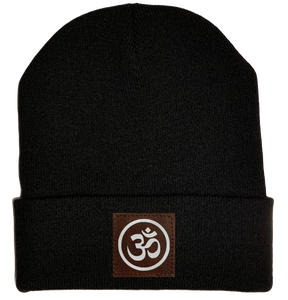 Beanie - Black, cuffed Beanie with  om symbol buddha gear
