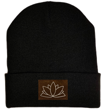 Load image into Gallery viewer, Beanie - Black, cuffed Beanie with lotus yoga hat