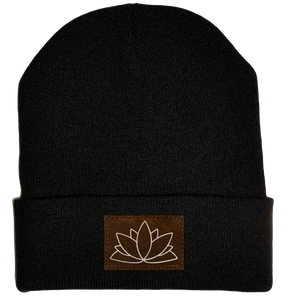 Beanie - Black, cuffed Beanie with lotus yoga hat