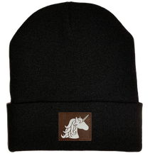 Load image into Gallery viewer, Beanie - Black, cuffed Beanie with unicorn buddha gear