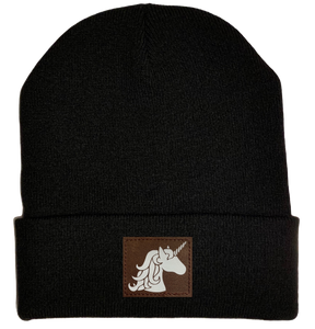 Beanie - Black, cuffed Beanie with unicorn buddha gear