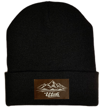 Load image into Gallery viewer, Beanie - Black, cuffed Beanie with Utah mountain buddha gear