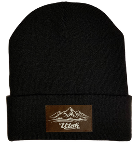 Beanie - Black, cuffed Beanie with Utah mountain buddha gear