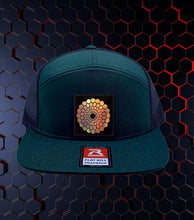 Load image into Gallery viewer, Green Flatbill Trucker Hat by Buddha Gear w Beehive Buds CBD Logo