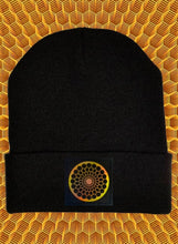 Load image into Gallery viewer, Black cuffed beanie by Buddha Gear w Beehive Buds CBD logo