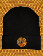 Load image into Gallery viewer, Black cuffed beanies by Buddha Gear w Beehive Buds CBD logo