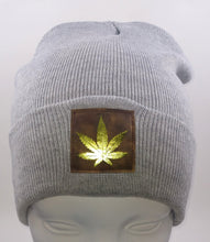 Load image into Gallery viewer, Cannabis Beanie -Light Grey Buddha Beanie with hand made Cannabis Leaf over your third eye by Buddha Gear