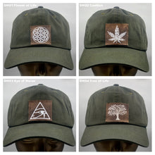 Load image into Gallery viewer, Buddha lids Buddha Gear Cotton, olive dad hat with handmade cannabis patch  Power to the plant medicine!